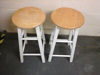2 x pine and white stools