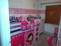 Children's cabin bed Frame with pink tent