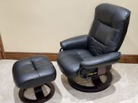 Santos Recliner Chair and Footstool - Black
