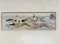Horse racing Stevengraph picture made with woven silk from the late 1800's