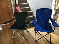 Two foldable camping chairs