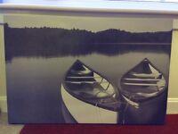 Calm Lake Canvas Print With Boats B&W