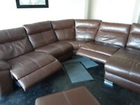 DFS Swift Leather Corner Sofa and Storage footstool