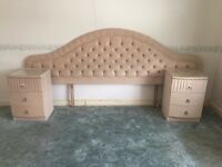 King size headboard and matching side tables