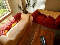 Two and Three seater sofas with second set of washable covers - Warm Wine Red and Sunny Yellow