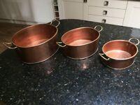 Set of 3 Copper Planters