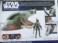 Star Wars Slave 1 vehicle & exclusive boba fett toy figure clone rebels collectible