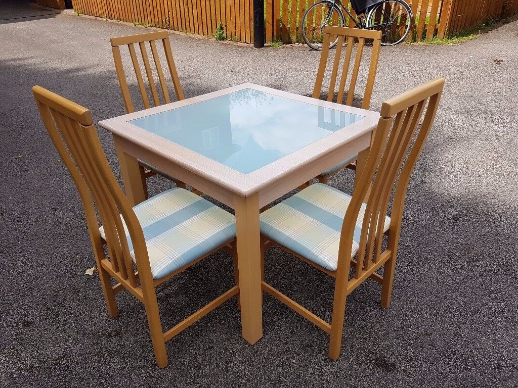 Solid Wood & White Glass Dining Table 90cm & 4 Tapley Chairs FREE DELIVERY 026