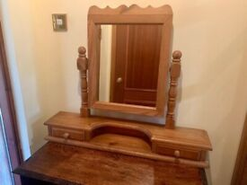 Vintage pine vanity mirror