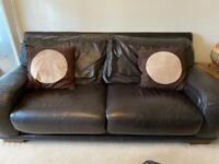 Brown leather 3 seater sofa, armchair and footstool