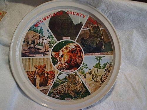 MILWAUKEE COUNTY ZOO METAL TRAY,Samson The Gorilla,jaguar,siberian tiger,giraffe