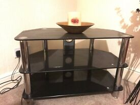 Black and Chrome Glass Tiered TV Stand
