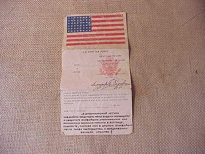 ORIGINAL WWII USAAF ETO PAPER BLOOD CHIT / ID CARD