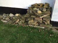 Rockery paving slabs and large pebbles
