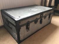 Vintage metal trunk chest