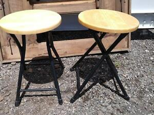 "2 Light IKEA FOLD UP STOOLS / 8x12"" Wood metal / OAKVILLE / Travelling / lightweight / Day tripper / Sitting in lineups"