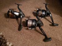 3x greys prodigy sx 12 ft 2.5lb tc carp rods and 3 x shimano beastmaster 7000 xta reels.