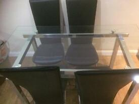 Glass/Chrome dining table & 4 chairs
