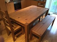 Pine Dining Table, Benches and Chairs
