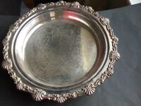 Vintage Silver Plated Deep Tray with feet.