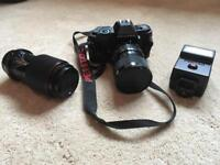 Pentax P30 Camera with 2 Lenses and Flash