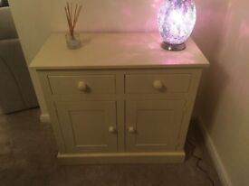 Handmade Solid Wood Side Table / Cabinet Cream