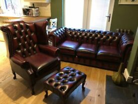 Bespoke, handmade 3 Seater Oxblood Chesterfield Sofa, Armchair and Footstool