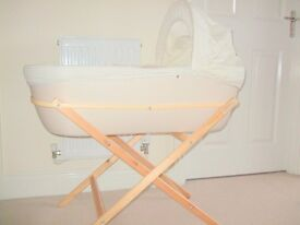Schnuggle Moses Basket (John Lewis) and stand