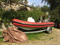 RIB 5.3m 90hp mariner 2003 top condition engine lovely boat huge solid trailer