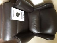 ! x Brown and 1 X blue leather reclining chairs