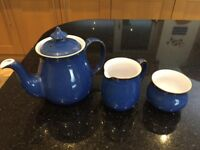 DENBY Imperial Blue teapot milk jug & sugar bowl