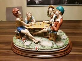 Pair of Capodimonte antique porcelain. Cheats and the hunter