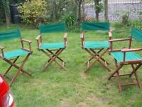 4 x folding wooden directors chairs