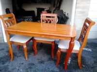 Teak dining table and 3 chairs