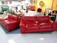 Very nice bright red leather 3&2 sofa suite
