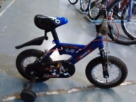 BOYS RALEIGH MICRO BIKE 12 INCH WHEELS+STABILISERS BLUE/BLACK GOOD CONDITION CHRISTMAS?
