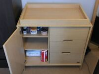 Solid Wood Beech Baby Changing Unit. With drawers. Urgent sale! Needs to be gone by Saturday.