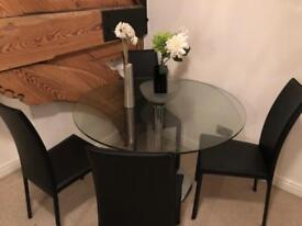 Habitat solid glass dining table + 4 chairs