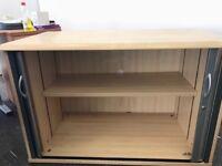 Desk level used tambour cupboard