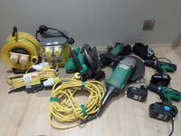 Hitachi power tools 110v set 18v combi drills circular saw, angle grinder 110v transformer