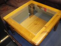 PINE, GLASS-TOPPED, COFFEE TABLE at Haven Housing Trust's charity shop