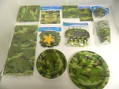 MILITARY ARMY CAMOUFLAGE CAMO  PARTY SUPPLIES  PLATES, CUPS, ETC.. - YOU PICK