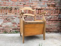 COMMODE Vintage Seat with Toilet Composting toilet, off grid living Timber Chair