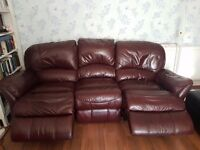 Electric recliner Burgundy Leather 3 seater sofa
