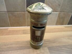 LOVELY VINTAGE SOLID BRASS DECORATED GPO POST BOX MONEY BOX