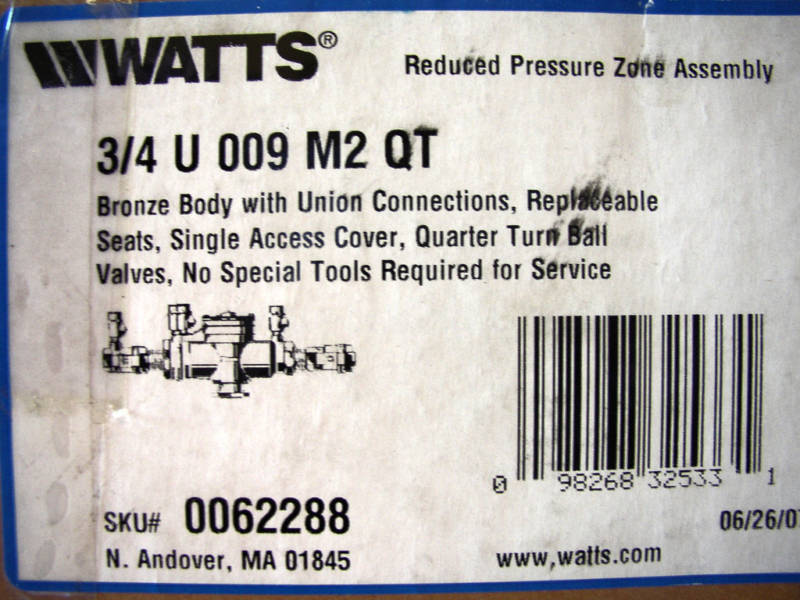 "WATTS 3/4"" U 009 M2 QT REDUCED PRESSURE ZONE ASSEMBLY"