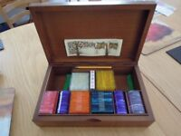 DELIGHTFUL BOX WITH GAMING CHIPS DICE ETC