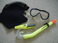 Diving Equipment, Snorkel, Mask, Balaclava