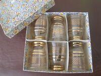 Vintage Gold Embossed Drinking Glasses