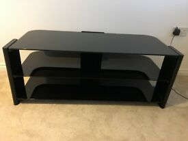 Black Glass T V Bench in excellent condition